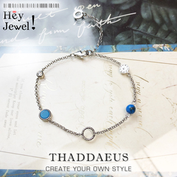 Charm bracelet Turquoise Stones Link Chain 925 Sterling Silver Stylish Nonchalance Fashion Club Jewelry Europe Women Ethnic Gift