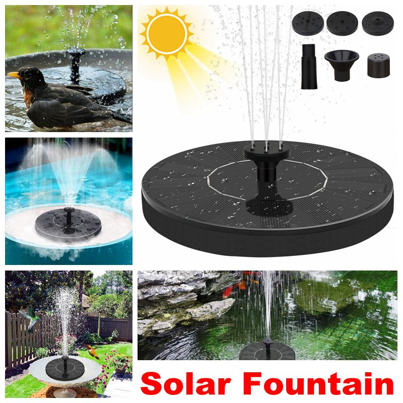 Solar Powered Water Fountain Outdoor Pump Bird Bath Pond Waterfall Garden Decoration Pool Fountain With 1.4W Floating Birdbath