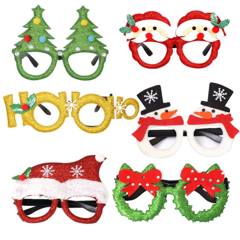 Novelty Glittered Christmas Eye Glasses Xmas Fancy Dress Party Decoration