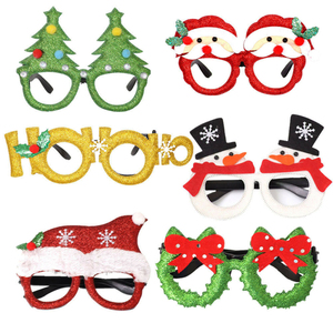 Christmas Cute Cartoon Glasses Frame Glittered Eyeglasses No Lens for Kids Adults Xmas Party Decoration