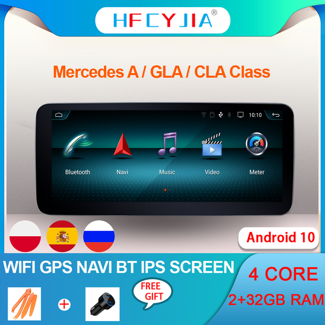 Android 10.0 System IPS Touch Screen Car Multimedia Player For Mercedes benz A CLA GLA W176 W117 X156 BT SWC WIFI 2+32G GPS Navi