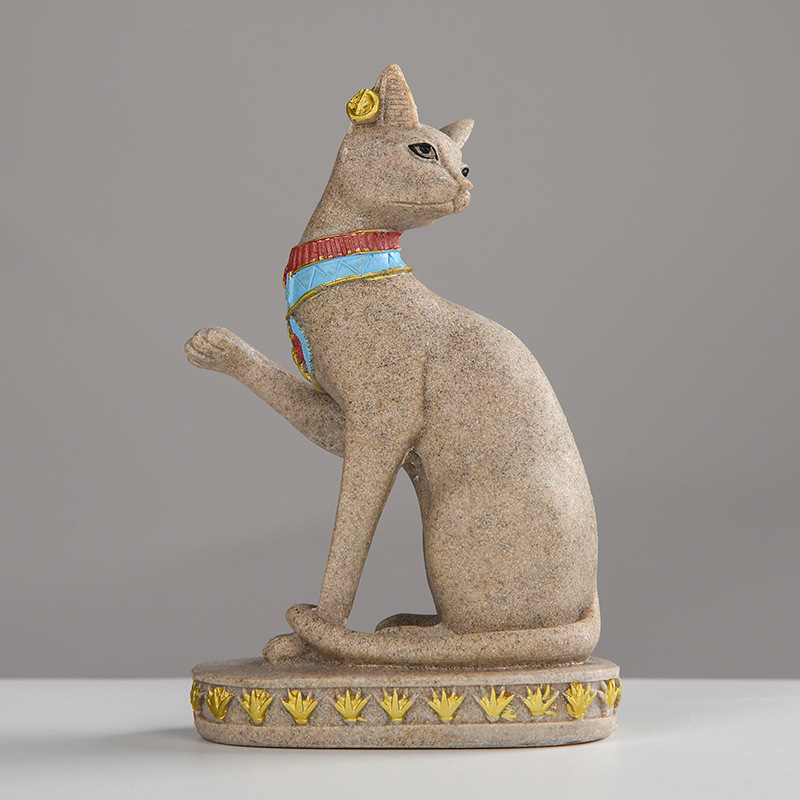 Sandstone Bastet Statue Egyptian Cat God Figurine Cat Ancient Egypt Natural Sandstone Craft Sculpture Home Desk Decor B in Figurines Miniatures from Home Garden