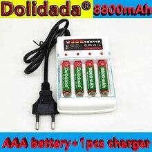 Dolidada nova bateria aaa 1.5v 8800mah bateria recarregável para controle remoto brinquedo luz bateria + 1 pces 4-pilha carregador de bateria