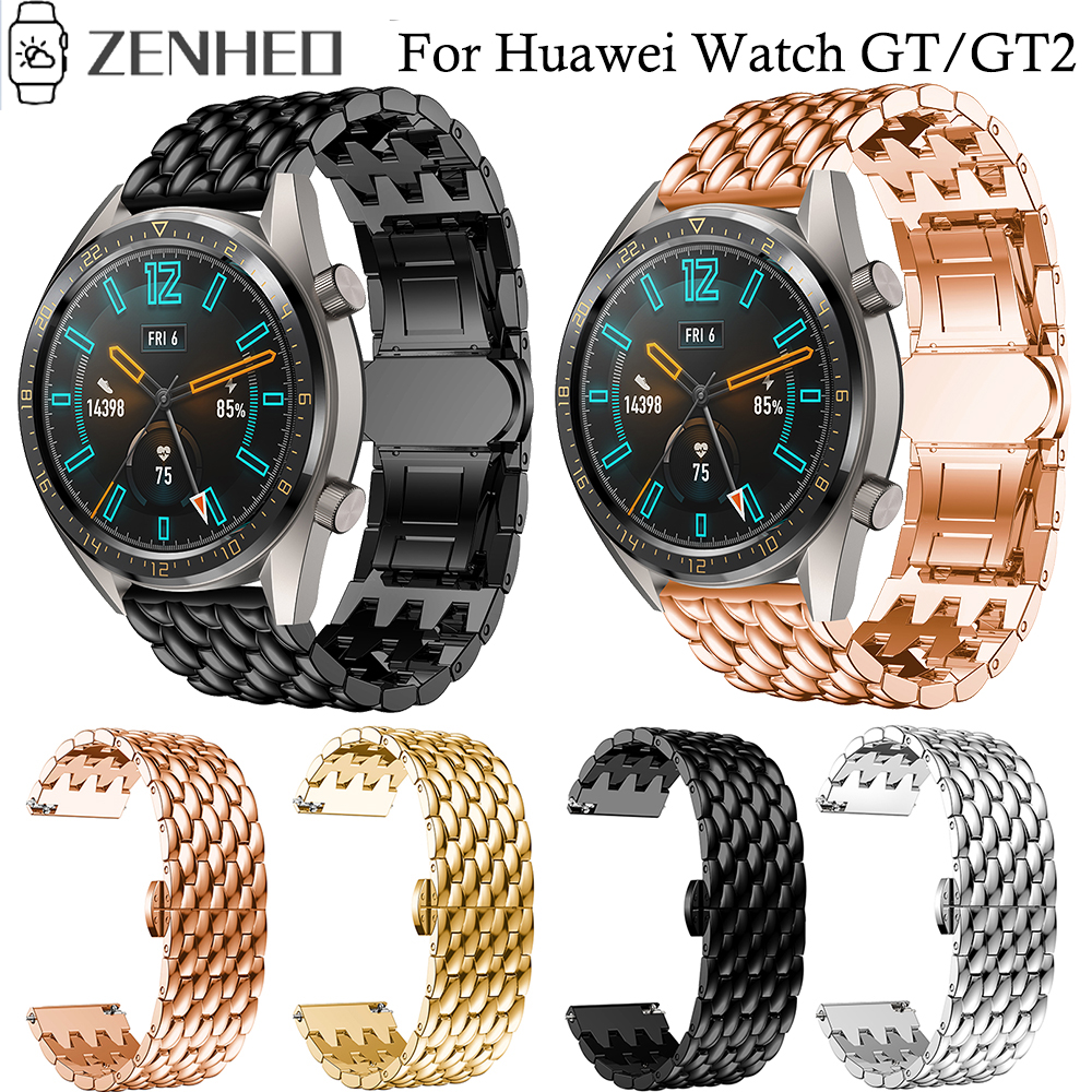 22mm Strap Band for Huawei <font><b>Watch</b></font> GT/GT2 <font><b>Smart</b></font> <font><b>Bracelet</b></font> Wristband Stainless Steel Watchband for <font><b>Samsung</b></font> Galaxy <font><b>Watch</b></font> <font><b>46mm</b></font> image