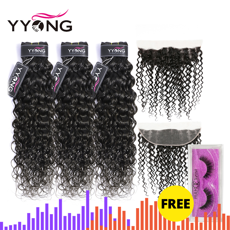 Yyong Water Wave Bundles With Frontal 3 / 4 Brazilian Hair Weave Bundles With Frontal Remy Human Hair Lace Frontal With Bundles