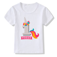 Kids Birthday White T-shirts Children Boy Girl Tees T Shirt Baby Cotton Clothing Cartoon Unicorn Fashion Tops Customized Digital(China)