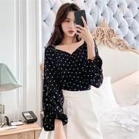 Early Autumn Blouses Young Harajuku Hong Kong Style WOMEN'S Dress 2019 New Style Trend Long Sleeve Polka Dot Sense of Design Non