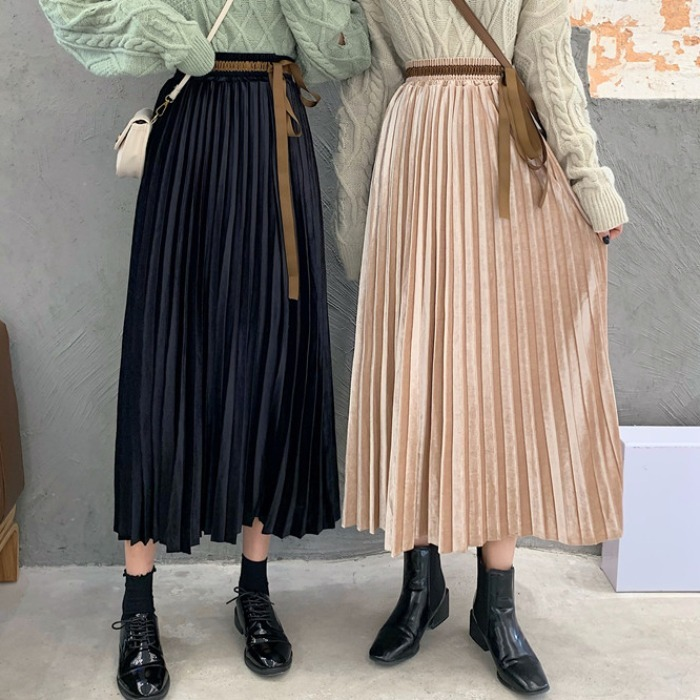 Black And White With Pattern Pleated Skirt Women's Autumn & Winter 2019 New Style Korean-style Versatile Mid-length High-waisted