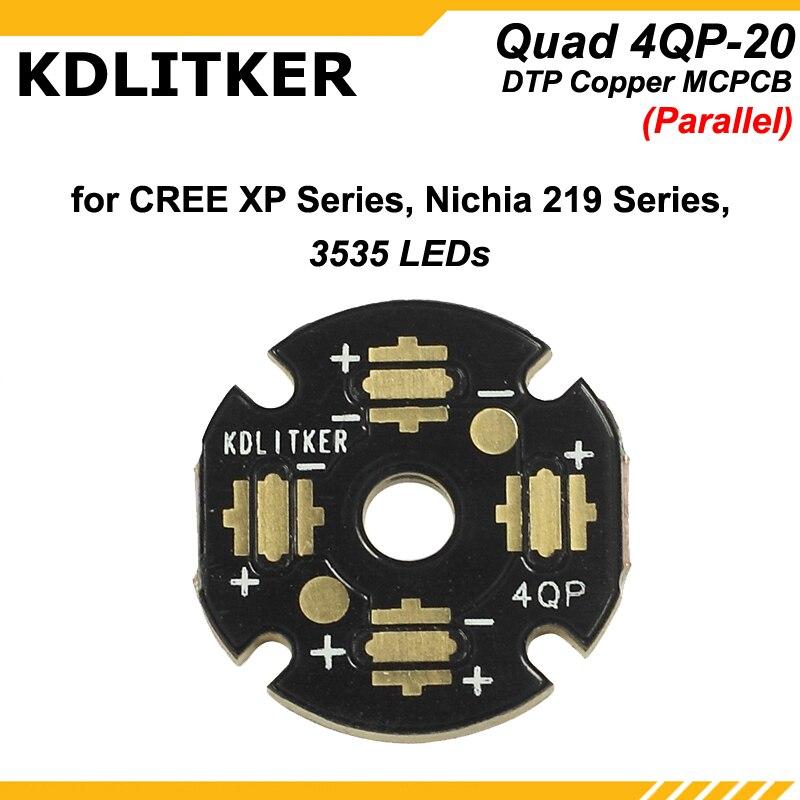 KDLITKER Quad 4QP-20 DTP Copper MCPCB For Cree XP Series / Nichia 219 Series / 3535 LEDs (1 Pc)