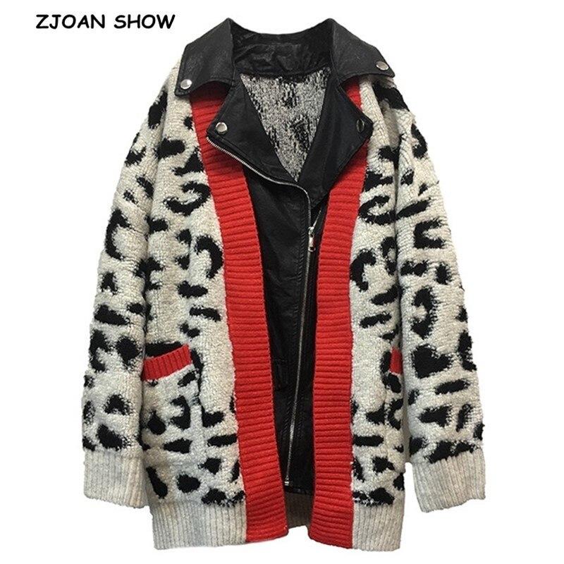 2019 Vintage Leopard Lamb Hairy Shaggy Cardigan Woman