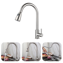 Kitchen Faucet Water-Tap Pull-Out Stainless-Steel Single-Handle 360-Degree