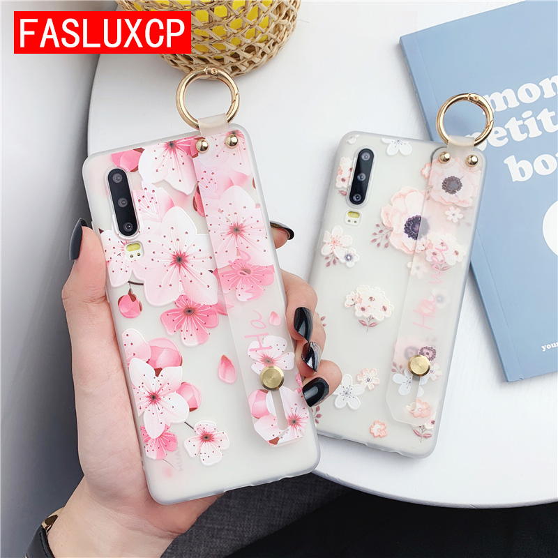 S20 Ultra Case Fashion <font><b>3D</b></font> Emboss Flower TPU Wrist Strap Cover for <font><b>Samsung</b></font> S20 S8 S9 S10 Plus Note 10+ 8 9 A9 <font><b>J7</b></font> Prime J8 S10E <font><b>J7</b></font> image