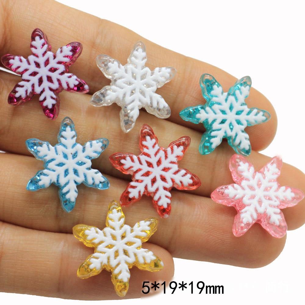 20Pcs Resin kawaii Snowflake Christmas Decoration Craft Flat back Cabochon Scrapbooking For Phone Embellishments Diy Accessories
