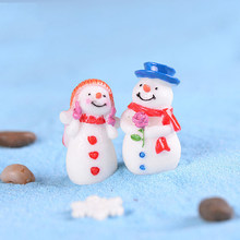 1pc Lover Snowman miniaturowa figurka świąteczne figurki home decoration kawaii DIY bajki ozdoby ogrodowe rzemiosło żywiczne dla dzieci zabawki(China)