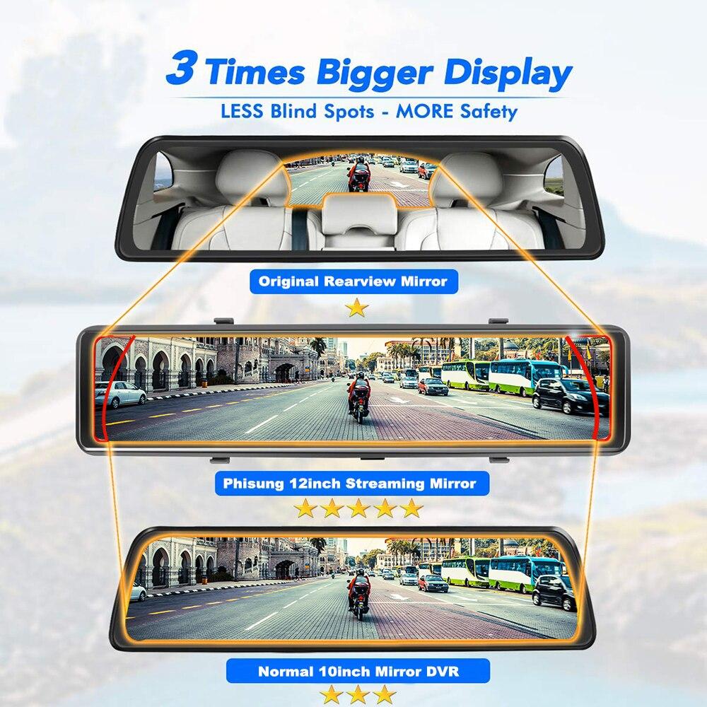 "Phisung 3 Split Screen 12""4G Android 8.1 Car Rearview Mirror Camera 2+32G dual dvr ADAS WiFi BT 4.0 Dash Cam dvrs video recorder 3"