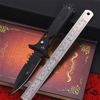 PEGASI Black  U.S classic 7CR18MOV steel S outdoor folding knife portable quick open sharp outdoor rescue folding knife EDC tool 4