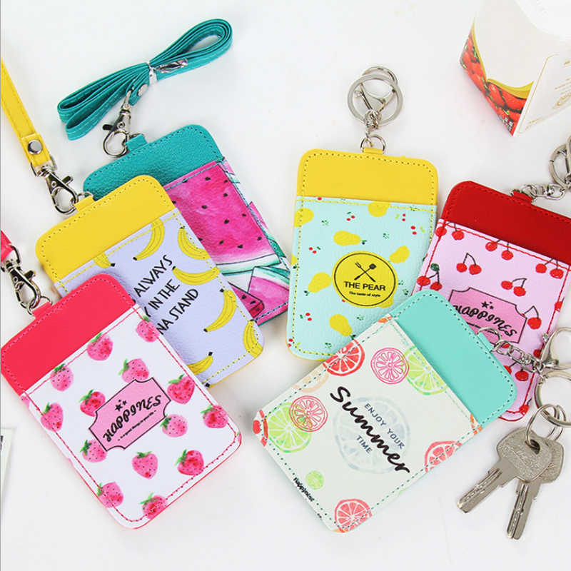 Women Cartoon Candy Leather Card Holder Students Bus Card Case Lanyard Girl Cute Rabbit Door Work Identity Badge 2 Cards Cover