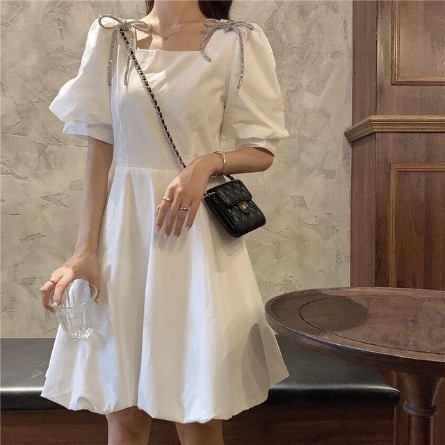 Summer Mini Dress Women White Puff Sleeve Korean Style Fairy Dress Bows Chiffon Japan Style Kawaii Elegant Vintage Party Dress 5