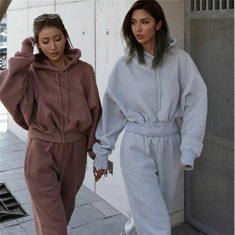 Однотонный спортивный костюм для женщин, комплект из двух предметов, осенне-зимняя одежда, толстовка с капюшоном, топ, спортивные штаны, спо...