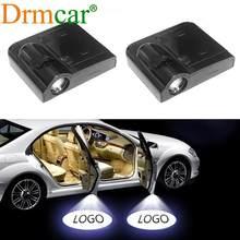 2 uds.-Lámpara de bienvenida Luz de logotipo de puerta de coche, luz láser, Led CC, Proyector Inalámbrico Universal, luz de ambiente para coche, accesorios para coche