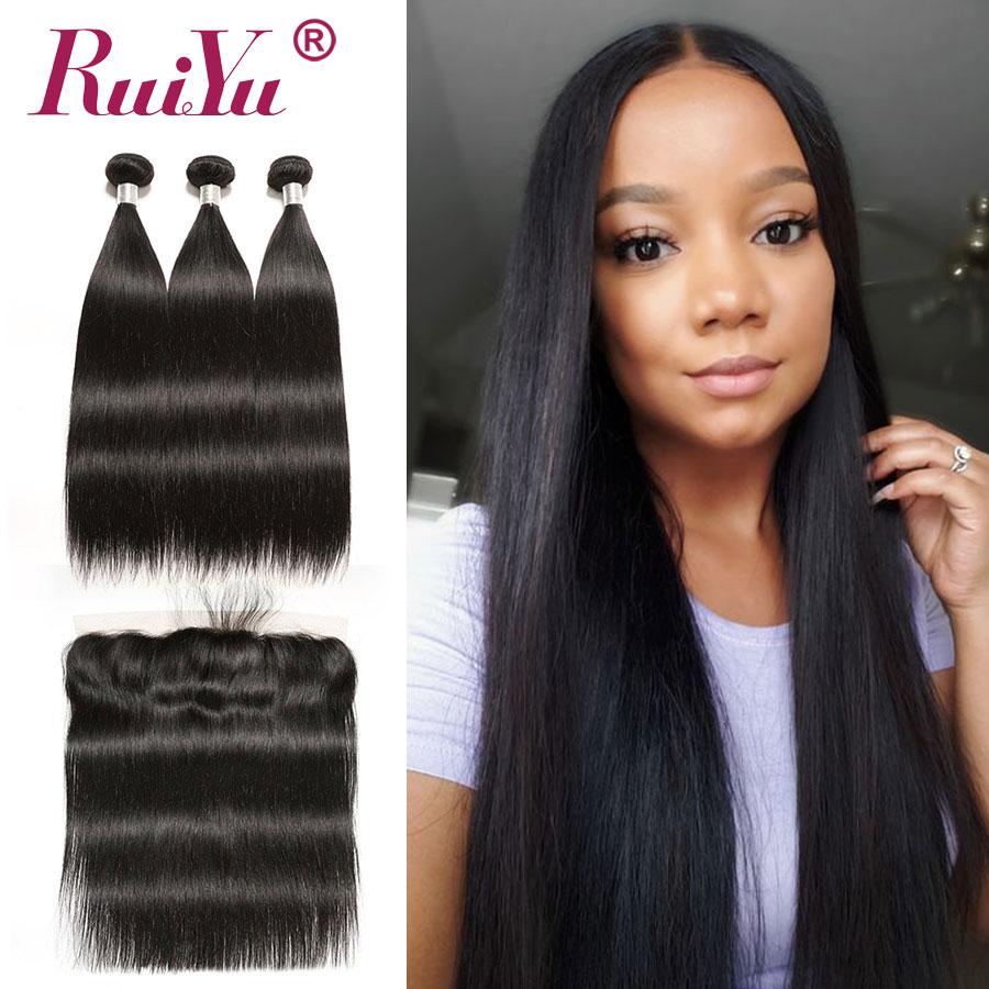 Lace Frontal With Bundles Peruvian Straight Hair Bundles With Frontal Pre Plucked With Baby Hair RUIYU Remy Human Hair Bundles