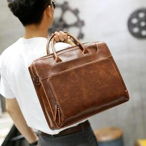 Image 2 - Brand Mens Briefcase Handbag Crazy Horse Pu Leather Messenger Travel Bag Business Men Tote Bags Man Casual Crossbody Briefcases