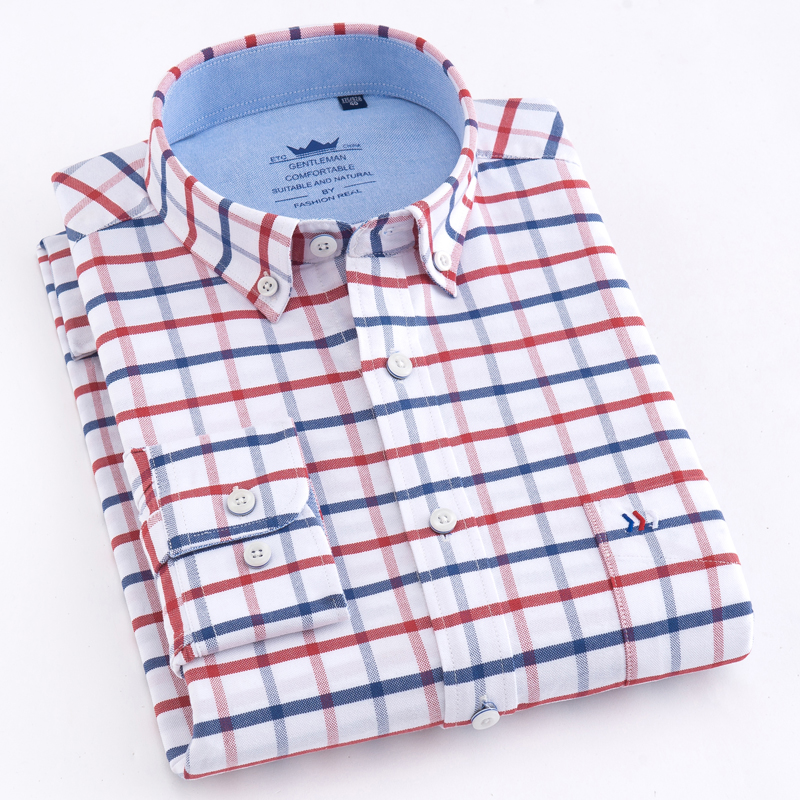 Men's Casual Thick Oxford Cotton Plaid Striped Shirts Single Patch Pocket Long Sleeve Standard-fit Button-down Checkered Shirt