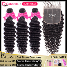 Gabrielle deep wave bundles with closure Brazilian Human Hair 6x6 closure and bundles Remy Hair Extensions