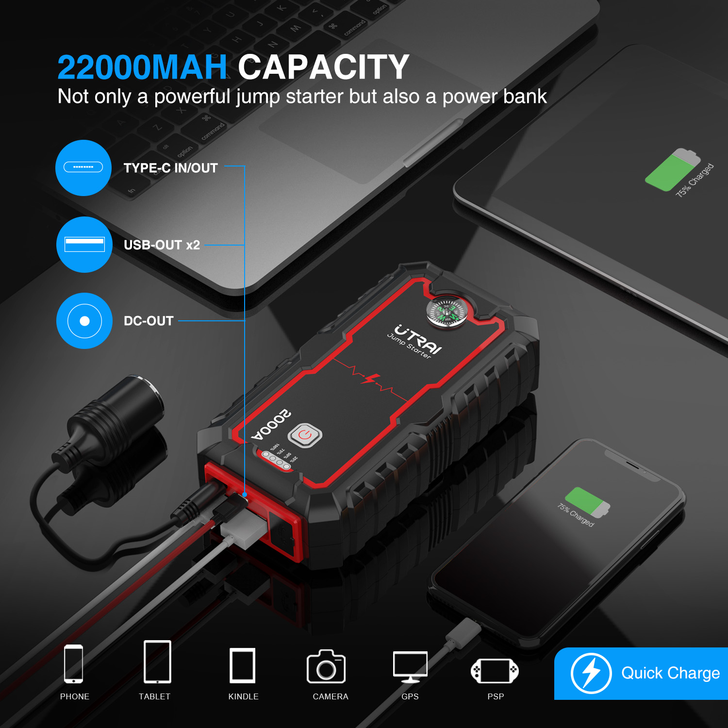 lowest price UTRAI 22000mAh Car Jump Starter Power Bank Portable Emergency Charger Jstar One Car Booster Starting Device Waterproof