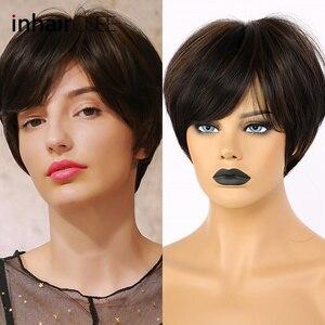 Inhaircube destaca pelucas sintéticas para mujeres recta corta Peluca de pelo con Superior cuero cabelludo corte Pixie marrón oscuro