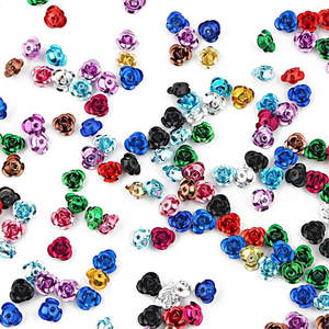 100PCS 3D Rose Flower Shape Jewelry Findings Aluminium Beads Cap Charms Pendant Charms Beads For Jewelry Making