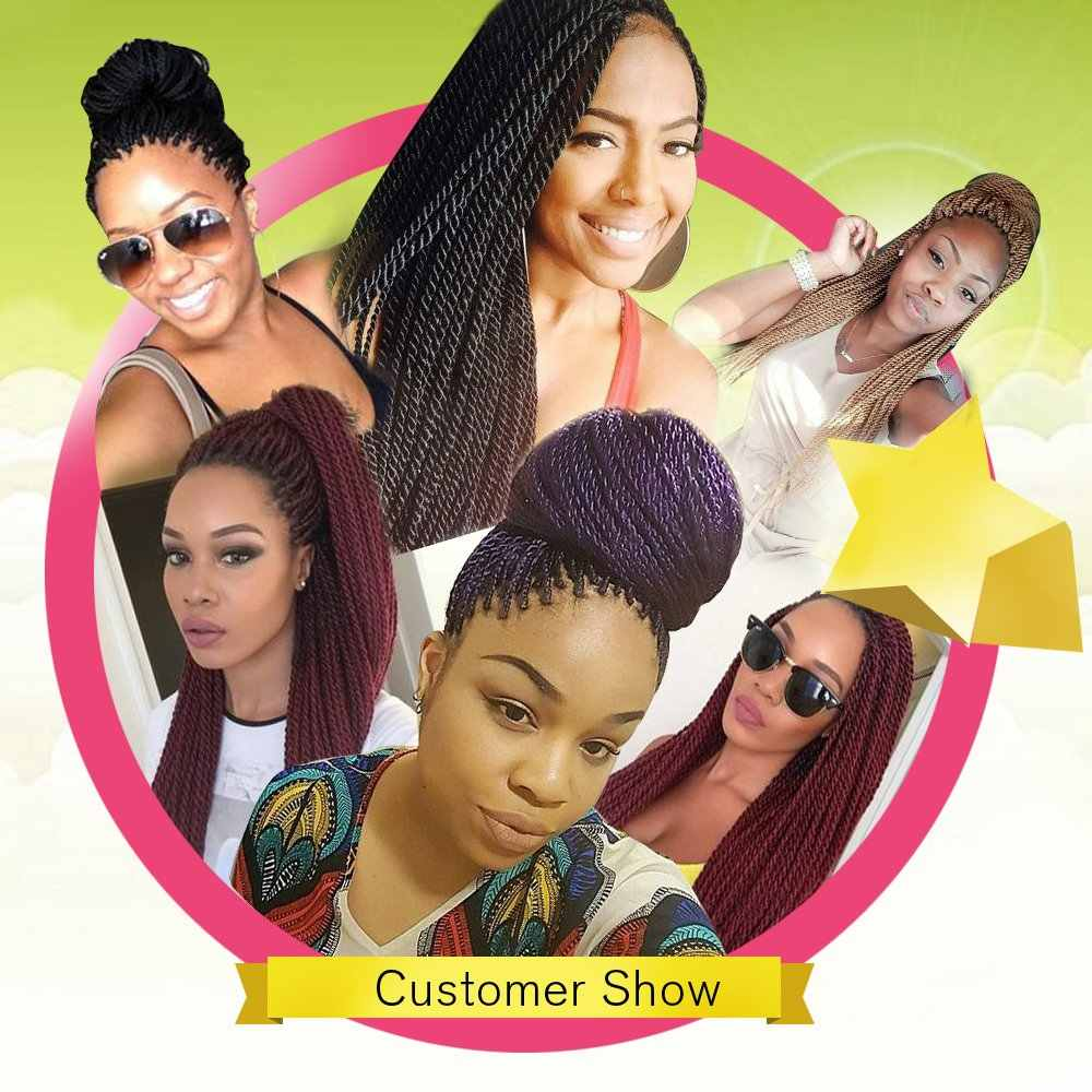 Senegalese Twist Häkeln Zöpfe Haar Hohe Tempreture Faser Synthetische Haar Extensions Für Schwarze Frauen Kanekalon Pre-twisted Groß