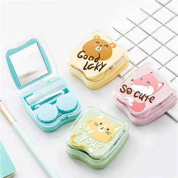 Contact Lens Box Holder Portable Small Lovely Clear Eyewear Bag Container Contact Lenses Soak Storage Case cute contact lens case for women hard box eye lenses container holder set eye contacts case eyewear accessories