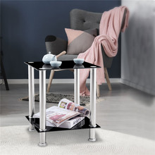 End Table living room table 2-Tier Glass Square End/Lamp Table Home Coffee table Black Clear Glass Minimalist Modern Small Desk