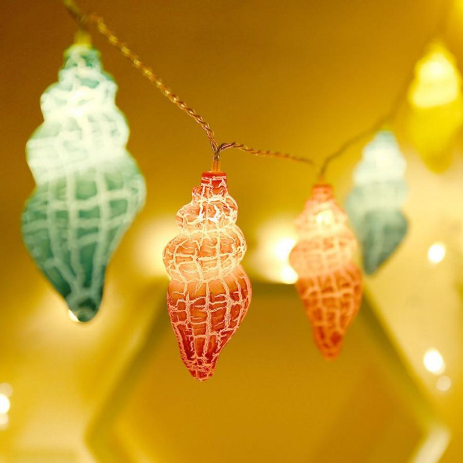 1.5M LED String Light Battery Operated Plastic Crack Conch Shape String Light Decoration Lamp For Weeding Room