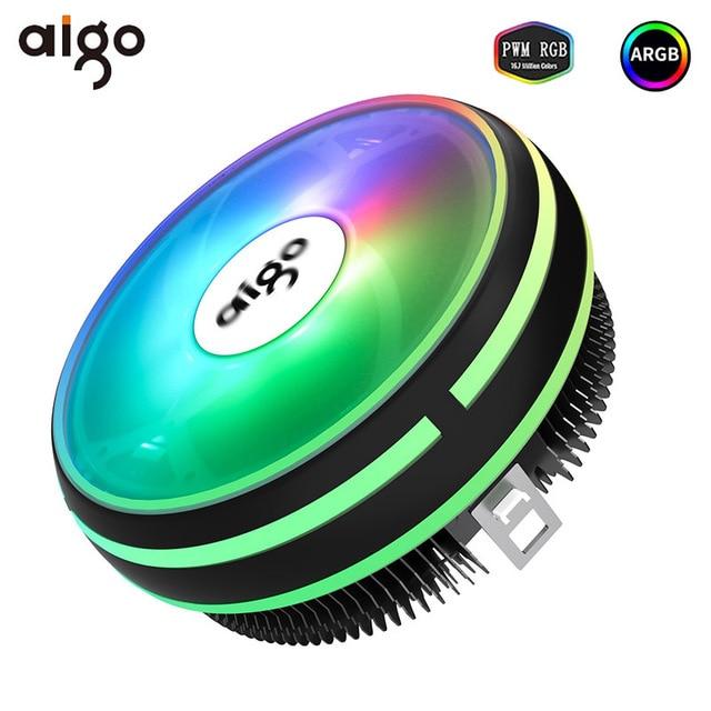 Aigo CPU Cooler 120mm PWM Fan 12V 4Pin RGB Air CPU Cooling Computer LGA 1150 1151 1155 1366 I3 I5 I7 AM3 AM4 Quiet PC CPU Cooler