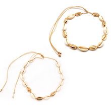2 Pcs/ Set Fashion Natural Shell Rope Chain Necklace Gold Metal Shell Clavicle Choker Pendant Necklace Collares Jewelry fashion explosive jewelry metal thick chain necklace earrings set chain jewerlry necklace set choker necklace