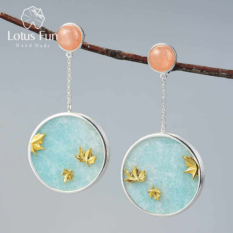 Lotus Fun Autumn Scenery Gold Maple Leaves Dangle Earrings Real 925 Sterling Silver Fine Jewelry Gemstones Earrings For Women
