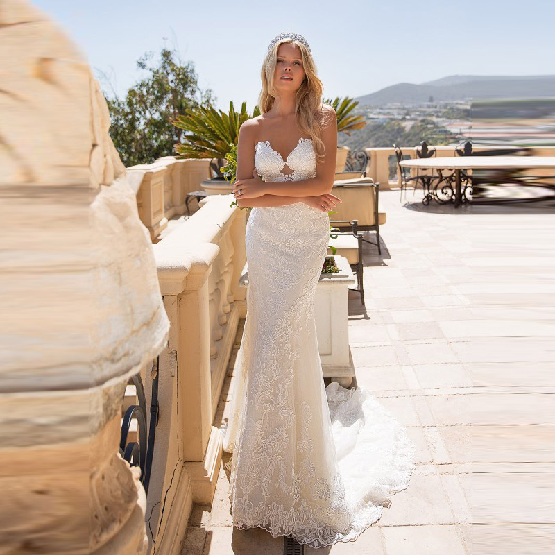 Modern Slim Mermaid Lace Open Back Wedding Gowns for Bride Sweetheart Sleeveless Bridal Wedding Dresses with Detachable Train