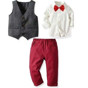 Toddler Boy Gentleman Suit Children Formal Autumn New Boys British Wind Set Kids Clothes Set 1-6 years old