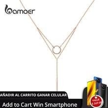 Bamoer כפול שכבות גיאומטרי קולר שרשראות לנשים אותנטי 925 כסף סטרלינג עלה זהב צבע תכשיטים BSN078