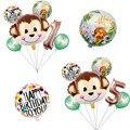 1 комплект, Мультяшные животные, коричневая обезьяна, воздушные гелиевые воздушные шары, зоопарк, сафари, ферма, тематическая вечеринка на д...