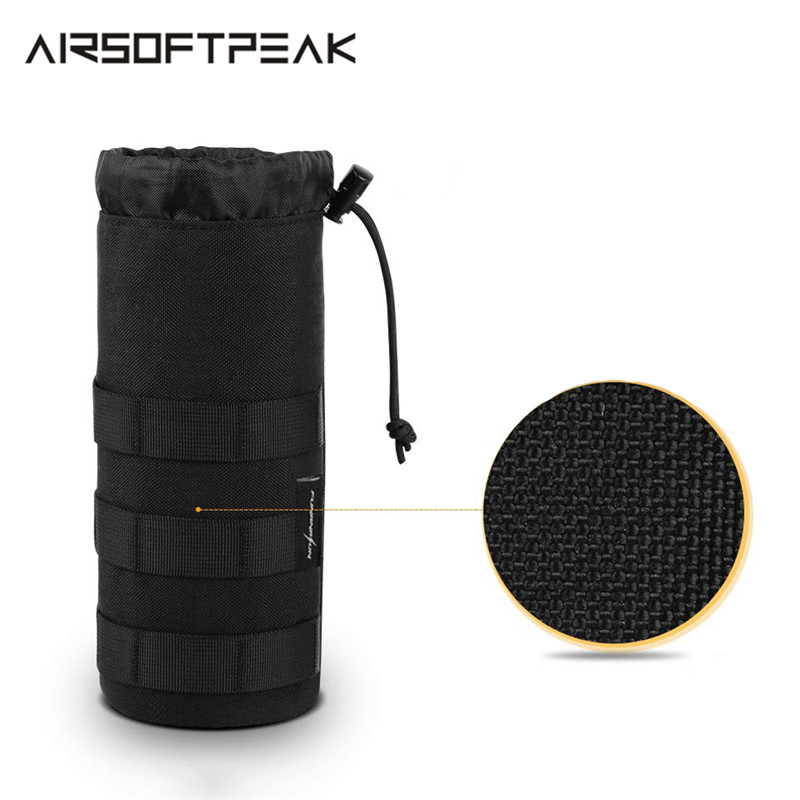 1000D Military Tactical Water Bottle Pouch 0.5L Outdoor Sports Molle Drawstring Pouches Holder Waterproof Bag Carrier For Hiking