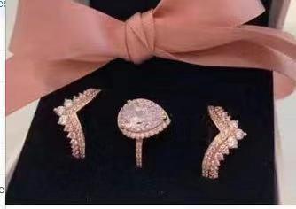 YPD130 925 anneaux de mariage en argent stes pour les femmes simulé bijoux bague de fiançailles en forme de poire ensemble d'anneaux