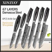XINZUO Juego de 6 uds. De cuchillos de cocina de alto carbono, VG10 estilo japonés, Chef de acero damasco, Santoku, cuchillo de utilidad para pan, mango de madera Pakka