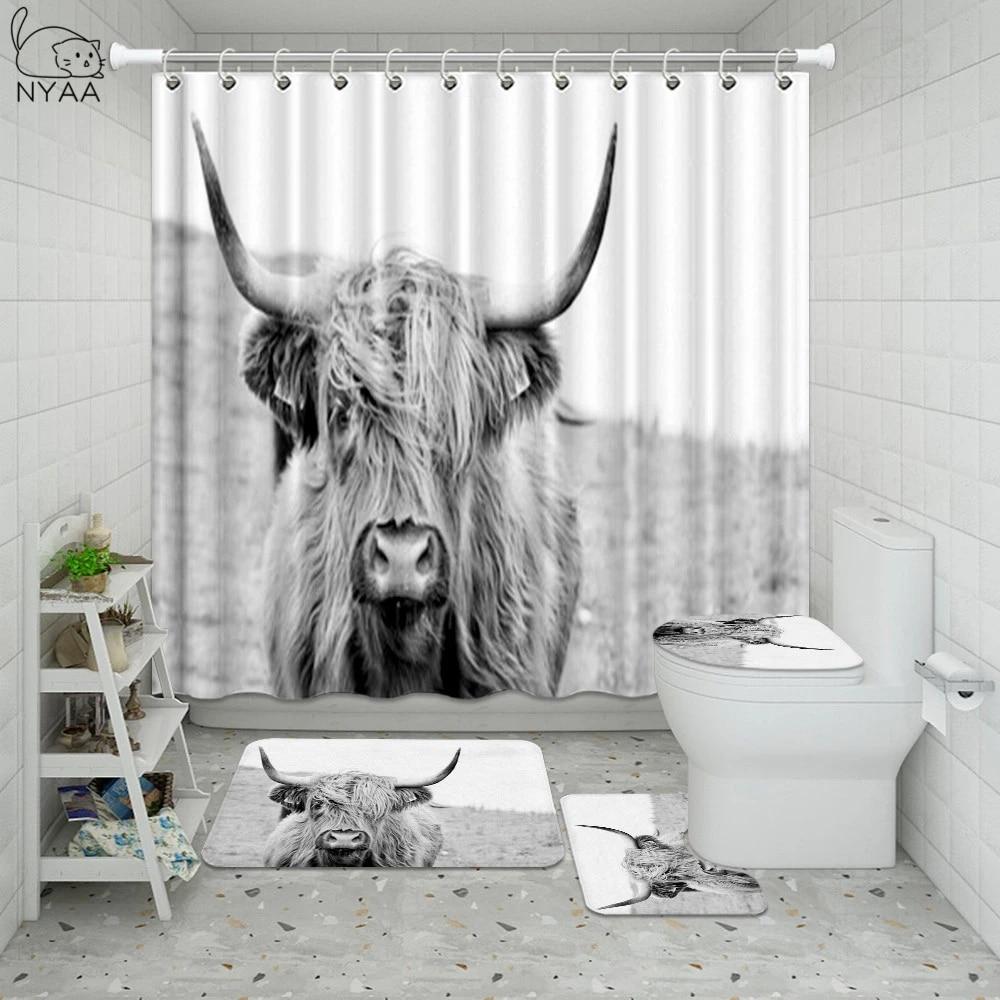 nordic portrait of a highland cow shower curtain set for bathroom curtain wildlife highland cattle cow home decor bath mat rug