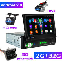 "1din Mobil Radio GPS Navigasi 7 ""HD Retractable Layar Android 9.0 multimedia Player universal Kamera audio Video player Tidak Ada DVD(China)"