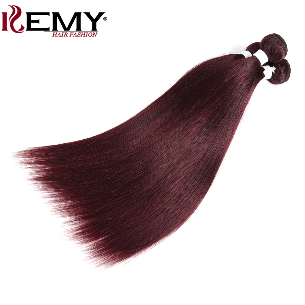 99J/Burgundy Brazilian Straight Human Hair Weaves Bundle KEMY HAIR 8 To 26 Inch Hair Weaving 1 PC Non-Remy Hair Extensions