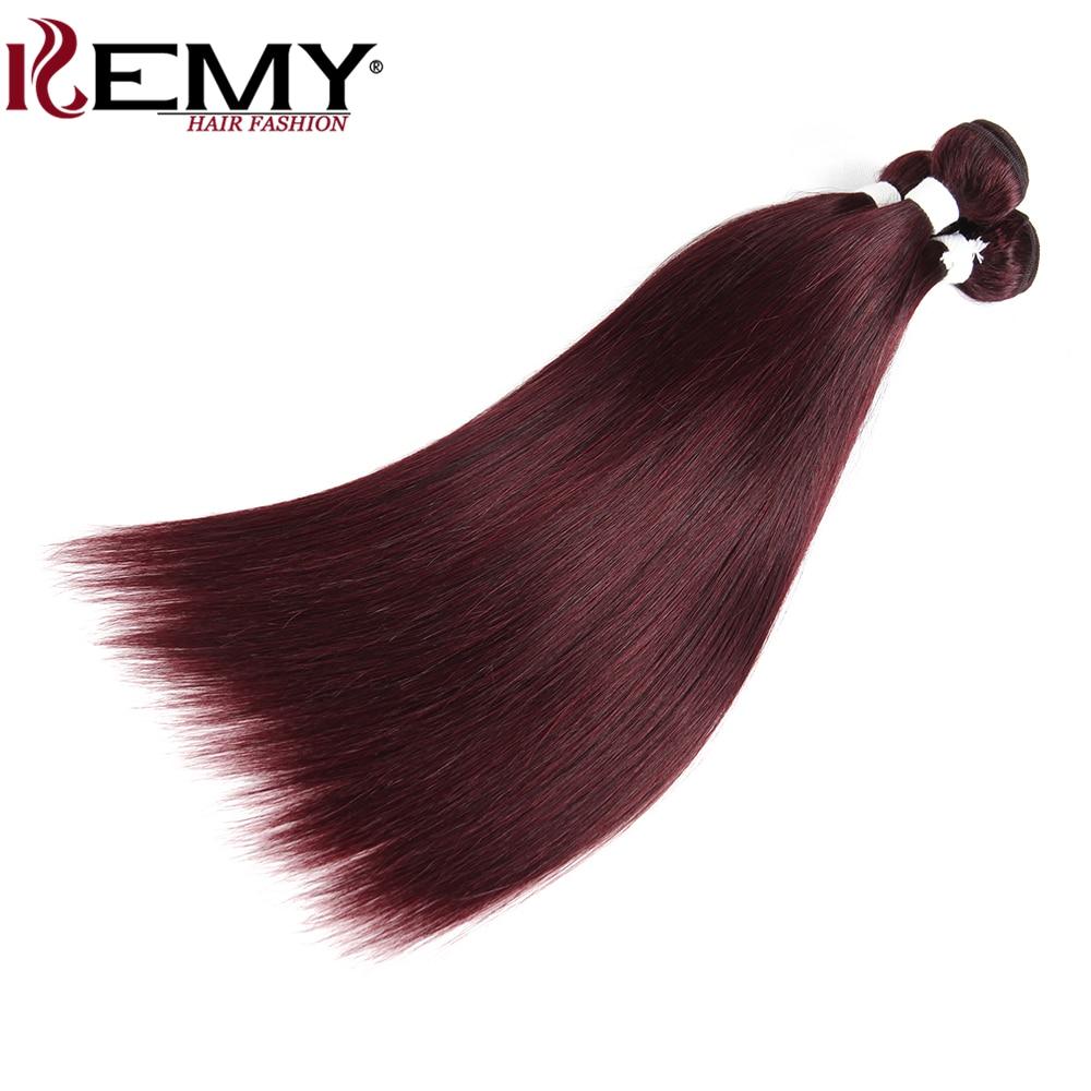 99J/Burgundy Brazilian Straight Human Hair Weaves Bundle KEMY HAIR 8 To 26 Inch Hair Weaving 1 PC Non-Remy Hair Extensions