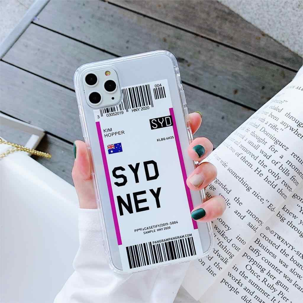 Sıcak hava bilet abd şehir londra Paris etiket dünya temizle kılıfı iPhone 11 Pro XR XS Max 7 8 artı Houston Chicago QR kod kapak